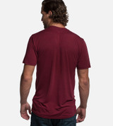 back view of model wearing red tee
