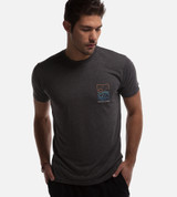 front view of model wearing charcoal tee with  water, waves, sun left chest design