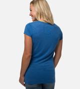 back view of model wearing reef blue scoop