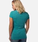 back view of model wearing teal scoop