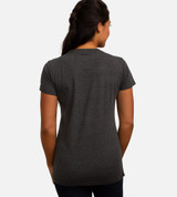 back view of model wearing charcoal crew tee