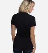 back view of model wearing black v-neck