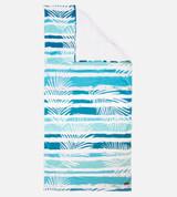fern stripe beach towel with corner folded over