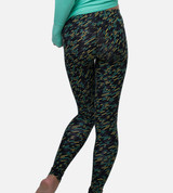 back view of model wearing Geo Lines Carbon leggings