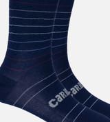 close-up on navy stripe trouser sock