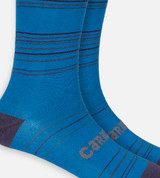 close-up on royal blue stripe trouser socks