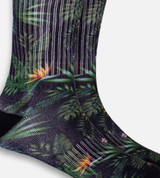 close-up on Olive Tropical Foliage crew sock