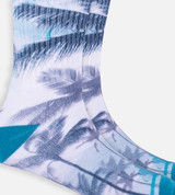 close-up on Teal Palms crew sock