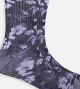 close-up on Gray Floral crew sock