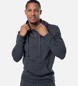 front view of guy wearing carbon heather hoodie
