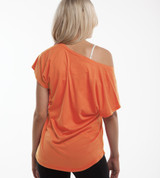 back view of girl wearing cariloha sunkissed coral dolman tee