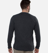 back view of guy wearing charcoal long sleeve crew tee