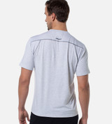 back view of model wearing the light heather gray performance crew