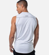 back view of men's light heather gray bamboo tank with contrast stitch