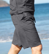 side view of model wearing carbon training shorts