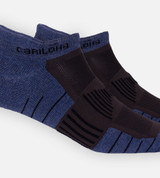 close-up on Navy Heather/ Carbon tab athletic socks