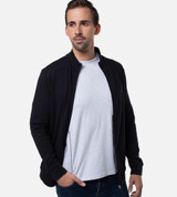 front view of guy wearing black bamboo jacket unzipped