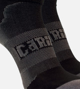 close-up on compression back around the middle of carbon/black women's athletic socks