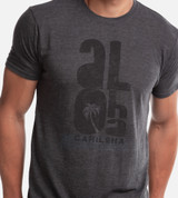 close-up on model wearing charcoal comfort crew tee with brushed aloha design