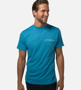 front view of model wearing driver blueprint left chest graphic tee