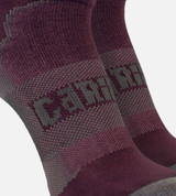 close-up on compression band middle of merlot women's athletic socks
