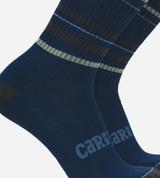 close-up on navy striped crew socks