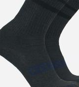 close-up on onyx heather striped crew socks