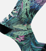 close-up on men's bamboo printed crew socks featuring our foliage design