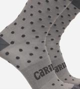 close-up on dot gray trouser socks