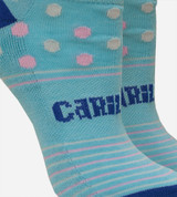 close-up on compression band middle of dot light blue ankle socks
