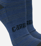 close-up on compression band middle of royal blue ankle socks