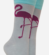 close-up on boot height of flamingo design
