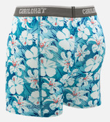 back view of blue hibiscus printed boxers