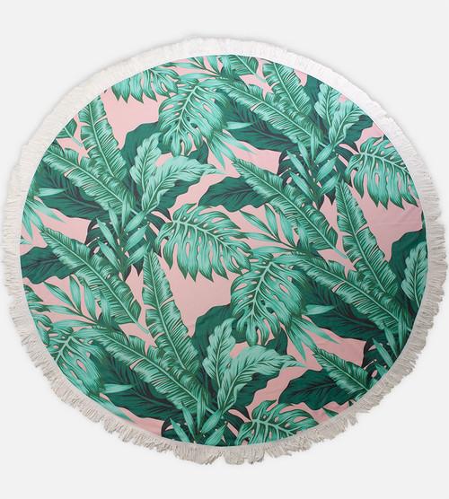 Palm fern round beach towel