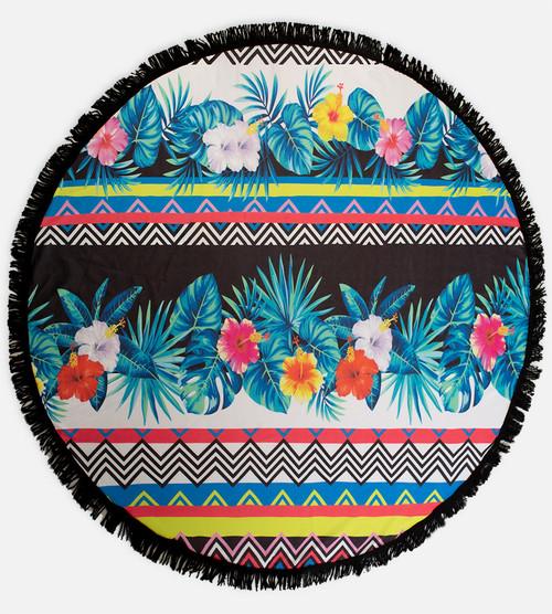 floral stripe round beach towel