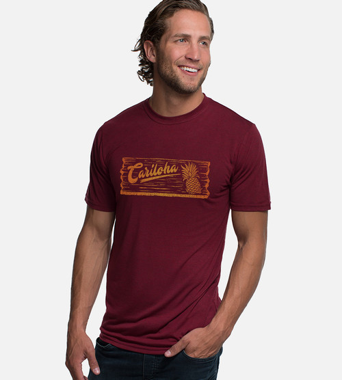 front view of model wearing cariloha plank rockwood red comfort crew tee