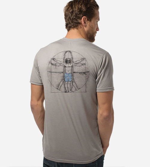 back view of model wearing da vinci surfer comfort crew tee back design