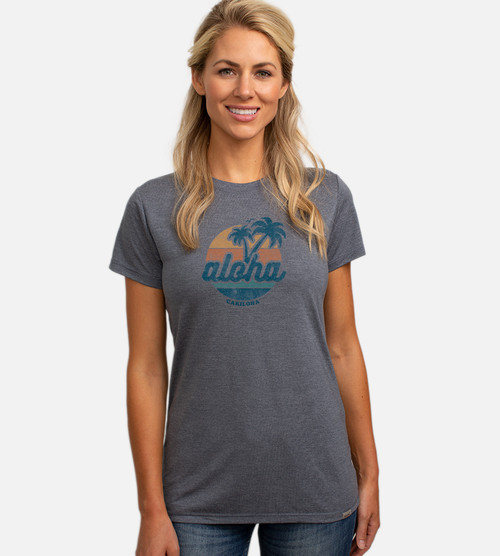 front view of model wearing navy crew tee with aloha palm circle design