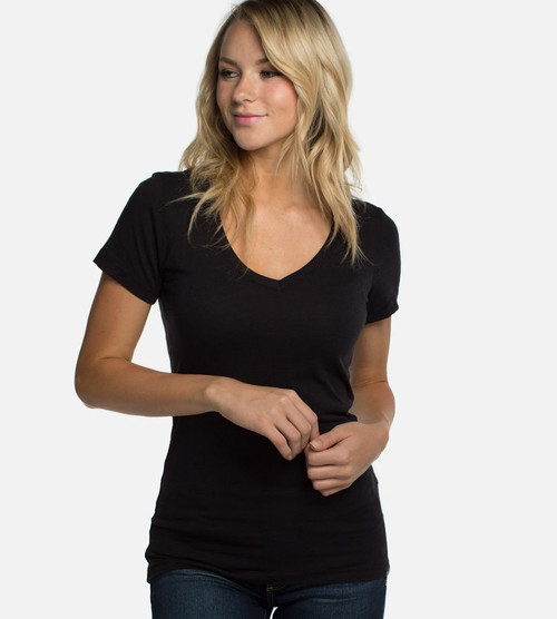 women's black bamboo v-neck tee