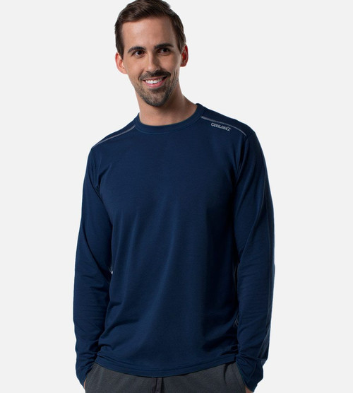 front view of model wearing navy athletic long sleeve