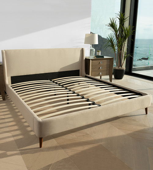 rendered image of our natural upholstered bed frame