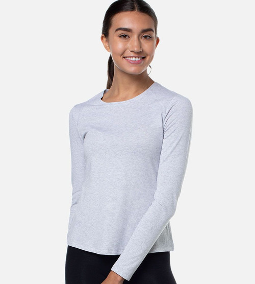 front view of model wearing light gray long sleeve