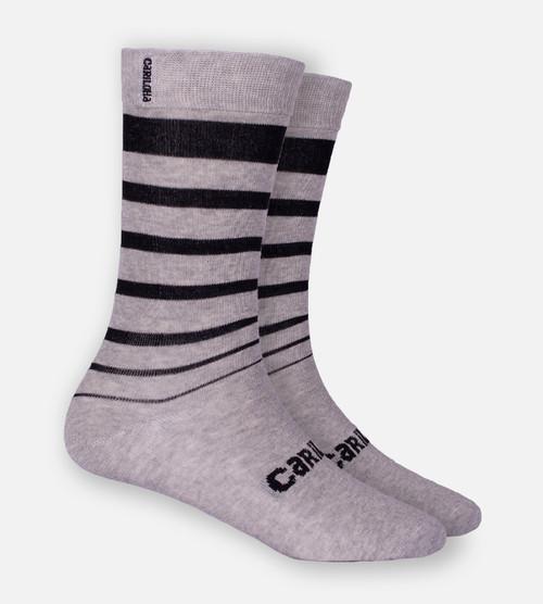 Light Heather Gray Block Stripe trouser socks