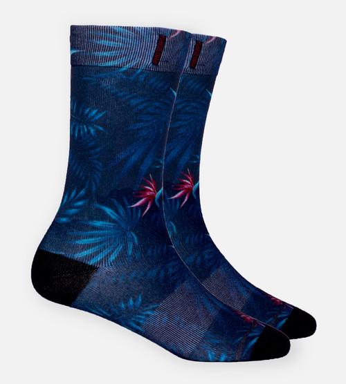 Navy Foilage trouser sock