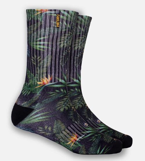 Olive Tropical Foliage crew sock