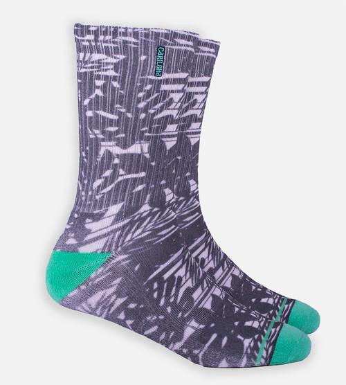 Gray Striped Foliage crew sock