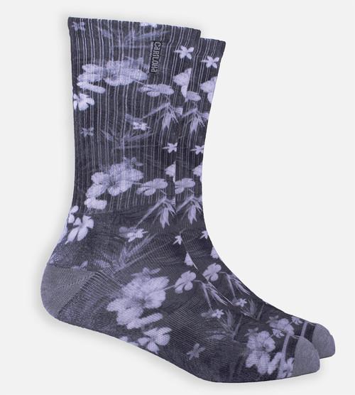 Gray Floral crew sock