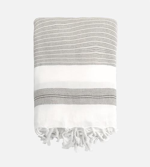 folded, above view of ecru black beach blanket