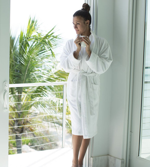 white bamboo bathrobe