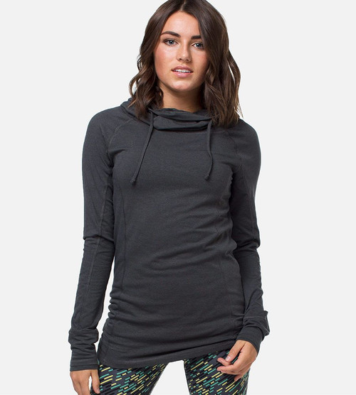 women's carbon bamboo cowl neck hoodie